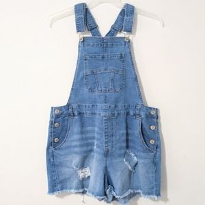 Forever 21 Women's Distressed Overall Denim Shorts